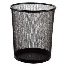 万博手机版ios9188圆形纸篓(黑)加厚垃圾桶收纳桶防绣铁丝网家用办公废纸篓垃圾袋筒